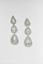 "Clear/Silver Clip 4.5"" Tear Drop Shape Earring"