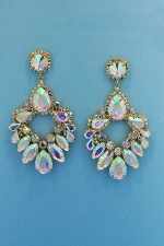 "Aurora Borealis/Gold Multiple Stone 3.5"" Post Earring"