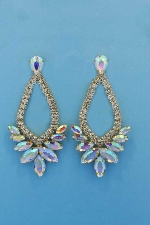 "Aurora Borealis/Clear Gold Marquise Shape/Stone 3.5"" Post Earring"