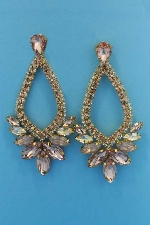 "Light Peach/Light Colorado Gold Marquise Shape/Stone 3.5"" Post Earring"