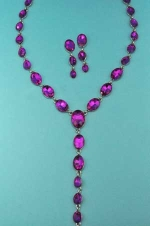 Fuchsia/Silver Linked Oval Stone Y Set