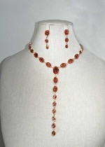 Light Peach/Rose Gold Oval Stone Y Shape Necklace Set