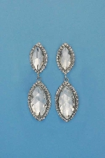 """Clear/Silver Clip Two Marquise Shape 2.5"""" Earring"""