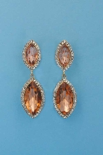 """Light Peach/Clear Gold Clip Two Marquise Shape 2.5"""" Earring"""