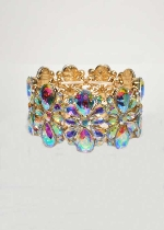Aurora Borealis/Gold Flower Shape Thick Stretch Bracelet