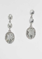 """Clear/Silver Three Linked Stone 2"""" Post Earring"""