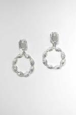 """Clear/Silver Top Emerald Bottom Round Shape 1.5"""" Post Earring"""