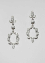 Clear/Silver Flower Shape Bottom Round Shape Earring