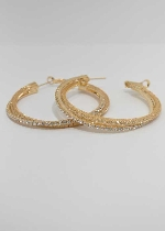 Clear/Gold Hoop Earring