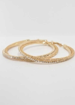 Clear/Gold 65MM Hoop Earrings