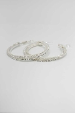 Clear/Silver 65MM Hoop Earring