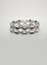 Clear/Silver Two Row Oval Shape Bracelet