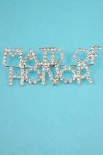 Clear/Silver Maid Of Honor Pin
