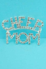 Clear/Silver Cheer Mom Pin