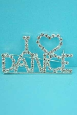 Clear/Silver I Love Dance Pin