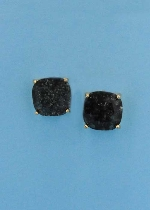 "Black Diamond/Gold Single Radiant Stone 0.5"" Post Earring"