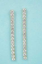 Cubic Zirconia/Gold 15 Straight Round Stone Post Earring