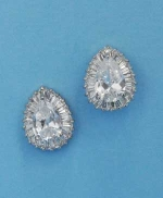"Cubic Zirconia/Silver Pear Shape 0.5"" Post Earring"