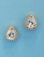 "Cubic Zirconia/Gold Pearl Shape 0.5"" Post Earring"