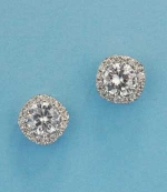 Cubic Zirconia/Silver Center Round Stone Post Earring