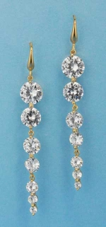 "Cubic Zirconia/Gold Growing Round Stone 2.5"" Post Earring"