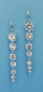 "Cubic Zirconia/Silver Growing Round Stone 2.5"" Post Earring"