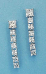 "Cubic Zirconia/Silver Growing Square Stone 2"" Post Earring"
