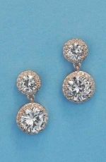 "Cubic Zirconia/Rose Gold Two Linked Round Stone 0.5"" Post Earring"