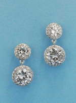 "Cubic Zirconia/Silver Two Linked Round Stone 0.5"" Post Earring"