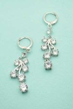Cubic Zirconia Leaf Like Dangle Hoop Earrings