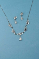Cubic Zirconia/Silver Thin Chain Leaves Dangle Stone Set