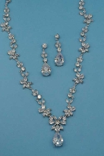 Cubic Zirconia/Silver Branch Set Leaves Shape
