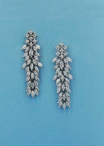 "Cubic Zirconia/Silver Branch Shape 2"" Post Earring"