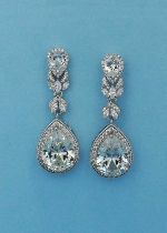 Cubic Zirconia/Silver Top Flower Linked Pear Stone Earring