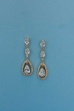 "Clear/Gold Linked Stones 1.5"" Post Earring"