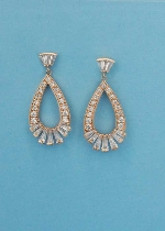 Cubic Zirconia/Rose Gold Pear Shape Earring