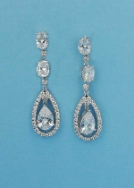 Cubic Zirconia/Silver Multiple Linked Stones Earring