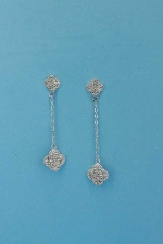 "Cubic Zirconia/Silver Linked Flower Shape 2"" Earring"