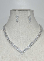 Cubic Zirconia/Silver Small Leaves Shape Set