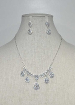Cubic Zirconia/Silver Dangle Teardrop Set