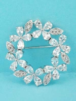 Cubic Zirconia/Silver Round /Flowers Shape Pin