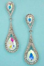 "Aurora Borealis/Clear Silver Drop Shape Pear Stone 2.5"" Post Dangle Earring"