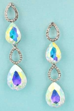 "Aurora Borealis/Clear Silver Four Pear Shape 2"" Post Dangle Earring"