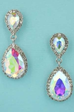 "Aurora Borealis/Clear Silver Two Pear Stone Framed 1.5"" Post Dangle Earring"