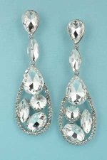 "Clear Silver Multiple Stones Drop Shape 2.5"" Post Earring"