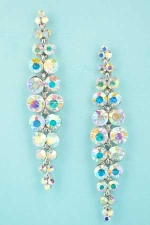 "Aurora Borealis/Silver Multiple Round Stone 2 Row 3"" Post Earring"
