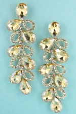 "Light Colorado/Clear Silver 2 Row Multiple Pear Stone 3"" Post Dangle Earring"