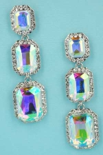 "Aurora Borealis/Clear Silver Three Emerald Shape 2.5"" Post Dangle Earring"