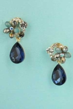 """Montana Navy/Clear Gold Colored Flower 1"""" Post Earring"""