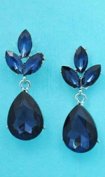 "Montana Navy/Silver Small Flower Shape 1"" Post Earring"